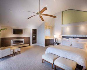 quarto de dormir, ventilador de teto, cama