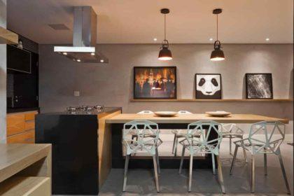 cozinha,mesa de jantar com 6 cadeiras