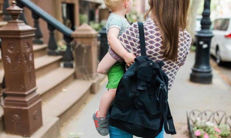 mamãe, filho, bolsa maternidade kipling