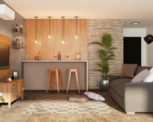 sala de estar decorada com itens como ar-condicionado, bancada, sofá