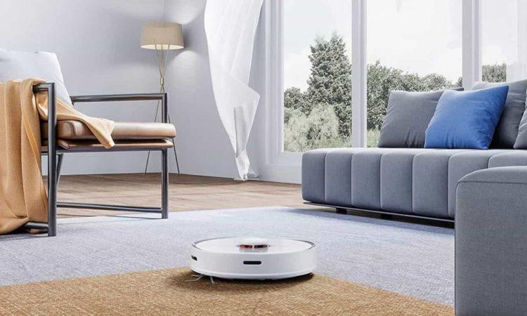 robô aspirador limpando casa, tapete