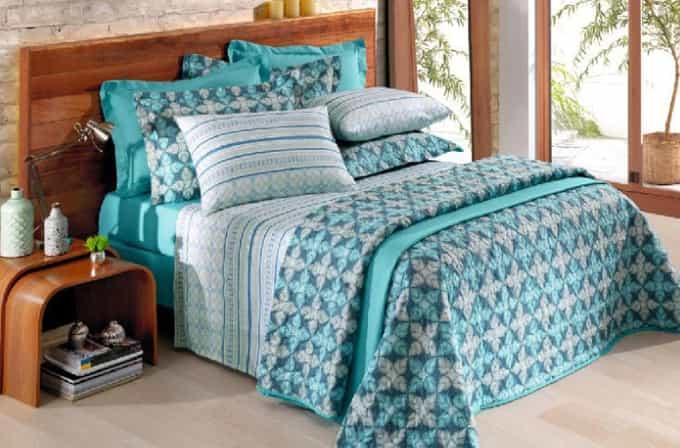 jogo de cama azul king queem