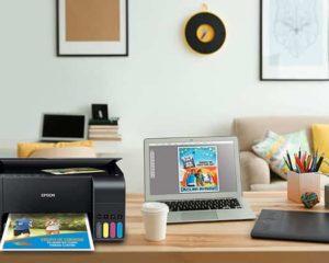 homeoffice com impressora, notebook