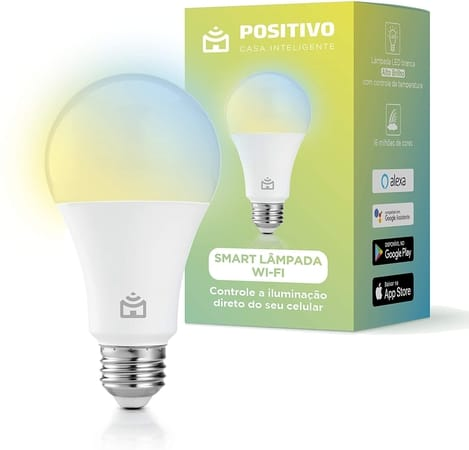 Smart Lâmpada Wi-Fi E27, Positivo Casa Inteligente