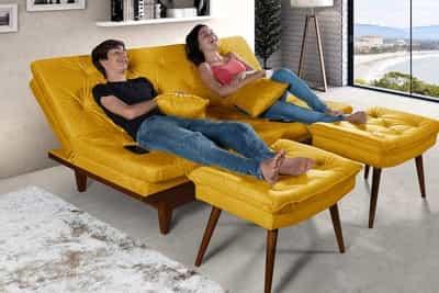 Sofá-cama reclinável com banquetas