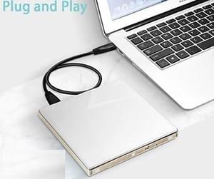Gravador de CD/DVD externo USB 2.0 Prata