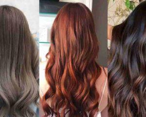 três mulhers com cabelo tintados com tinta de cabelo