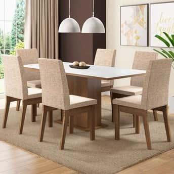 Conjunto Mesa de Jantar Madesa Madeira com 6 Cadeiras