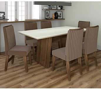 Conjunto de Mesa para Sala de Jantar com 6 Cadeiras Vigo