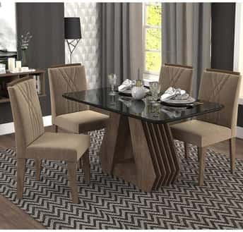Mesa de Jantar Agata Com 4 Cadeiras Nicole Cimol