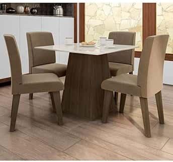 Conjunto de Mesa de Jantar com 4 Cadeira Florença Fit Dobue