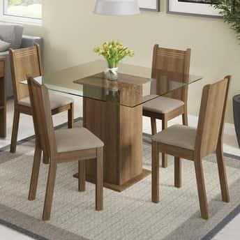 Conjunto Mesa de Jantar 4 Cadeiras Magda Madesa Rustic
