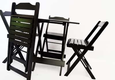 Mesa De Madeira Bar Dobrável com 4 Cadeiras Preto