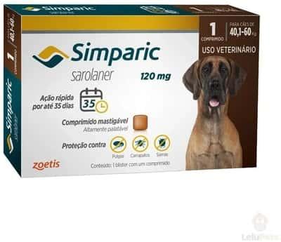 Simparic 120Mg 40,1 Até 60Kg 1Cp Zoetis Para Cães