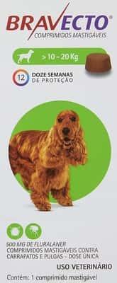 Bravecto Cães 10 até 20kg 500mg Bravecto para Cães