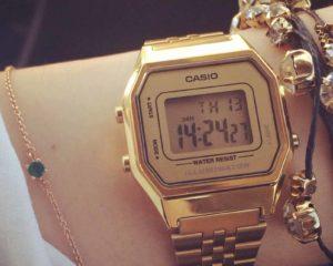 relógio digital feminino vintage casino